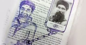16Textbook Masterpieces Drawn byBored Students