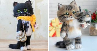 A Girl From Russia Makes Felt Cats That Are So Cute, You'd Think They Wandered Straight Out of a Children's Tale