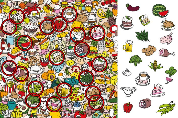 find the food items puzzle answer