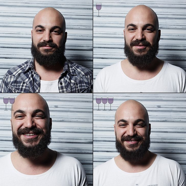 Photos That Show How WeLook after 1, 2and 3Glasses ofWine