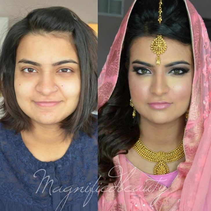 20+ Striking Photos That Show What Brides Look Like Before and After Wedding Makeup