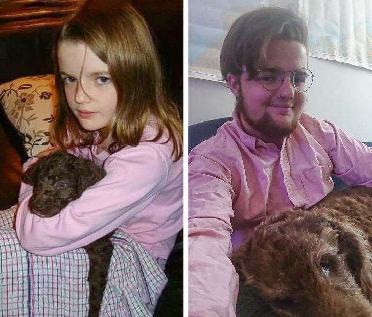 18 People Who Grew Up Together With Their Pets