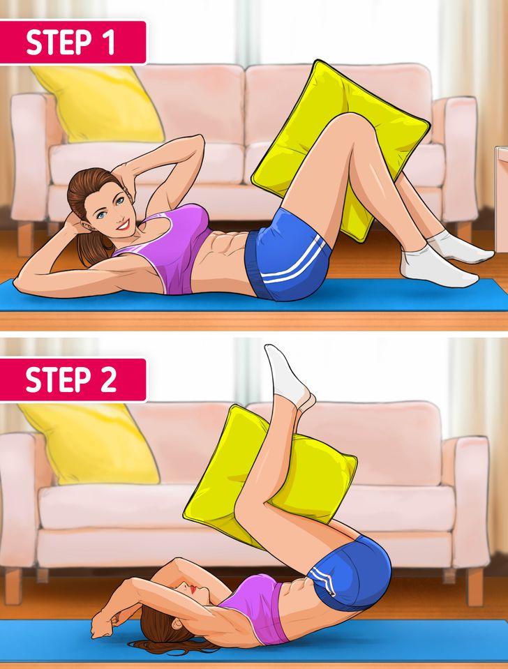 10 تمارين يمكنك القيام بها باستخدام وسادة فقط