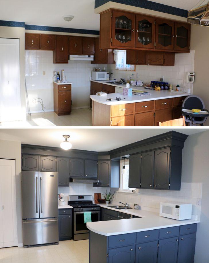 ремонт кухни до и после