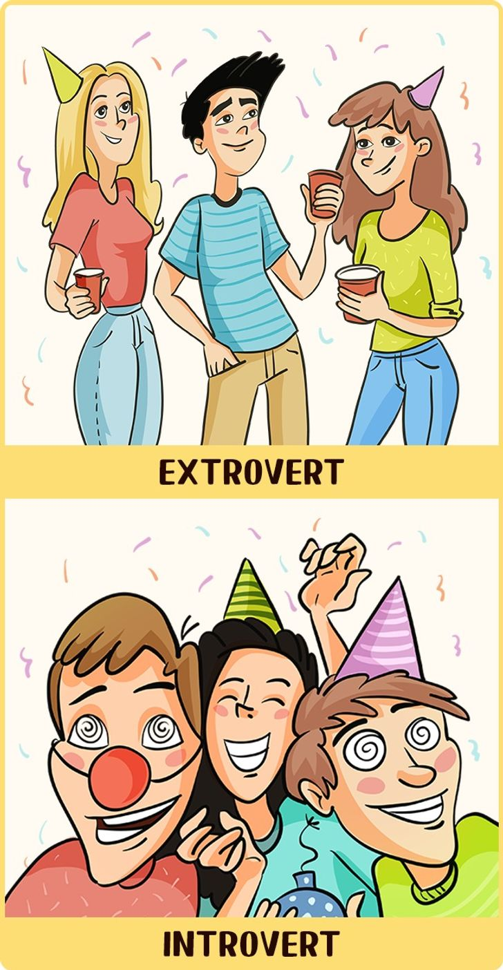 12Illustrations Showing How Introverts and Extroverts See the World
