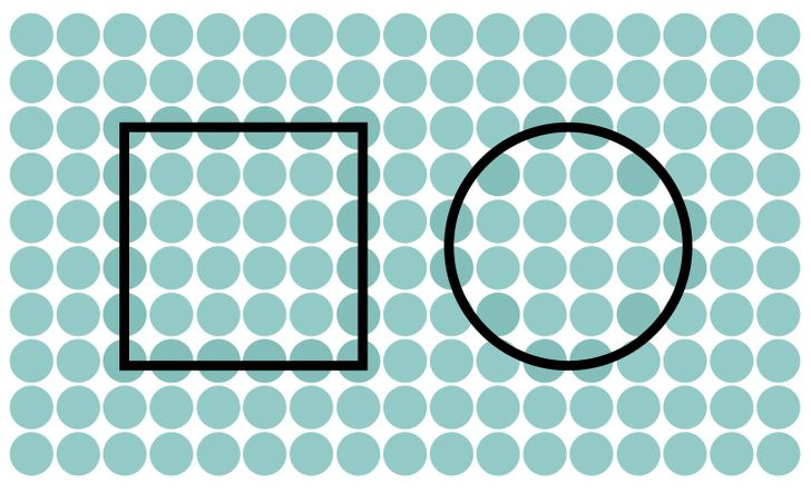 A square and a circle. Solution 10 of 15.