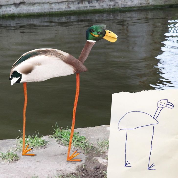 A Dad Recreates His Kids' Drawings in Photoshop, and It's Created a Crazy World We'd Love to Visit