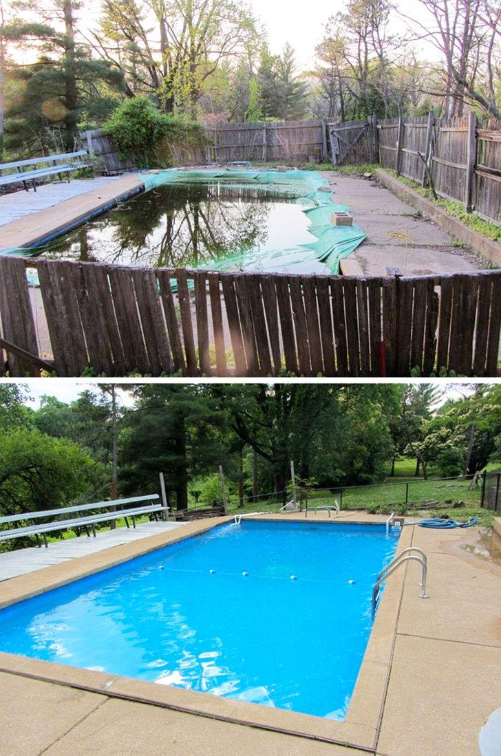 ремонт бассейна до и после