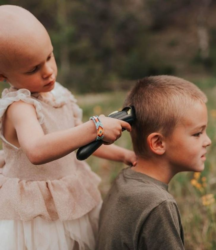 Brother Lets 3-Year-Old Sister Shave His Head, So She Doesn't Feel Alone While Battling Cancer