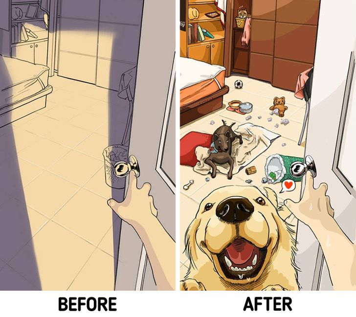 A Taiwanese Artist Illustrates What Life Is Like Before and After You Get Pets