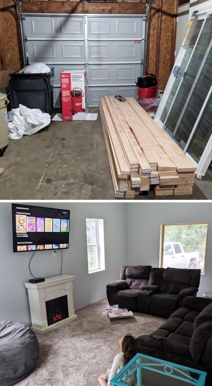 ремонт гаража до и после