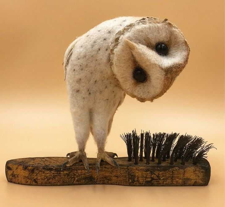 A British Artist Uses Old Brushes and Felt to Show the Fairytale Moments in Animal's Lives