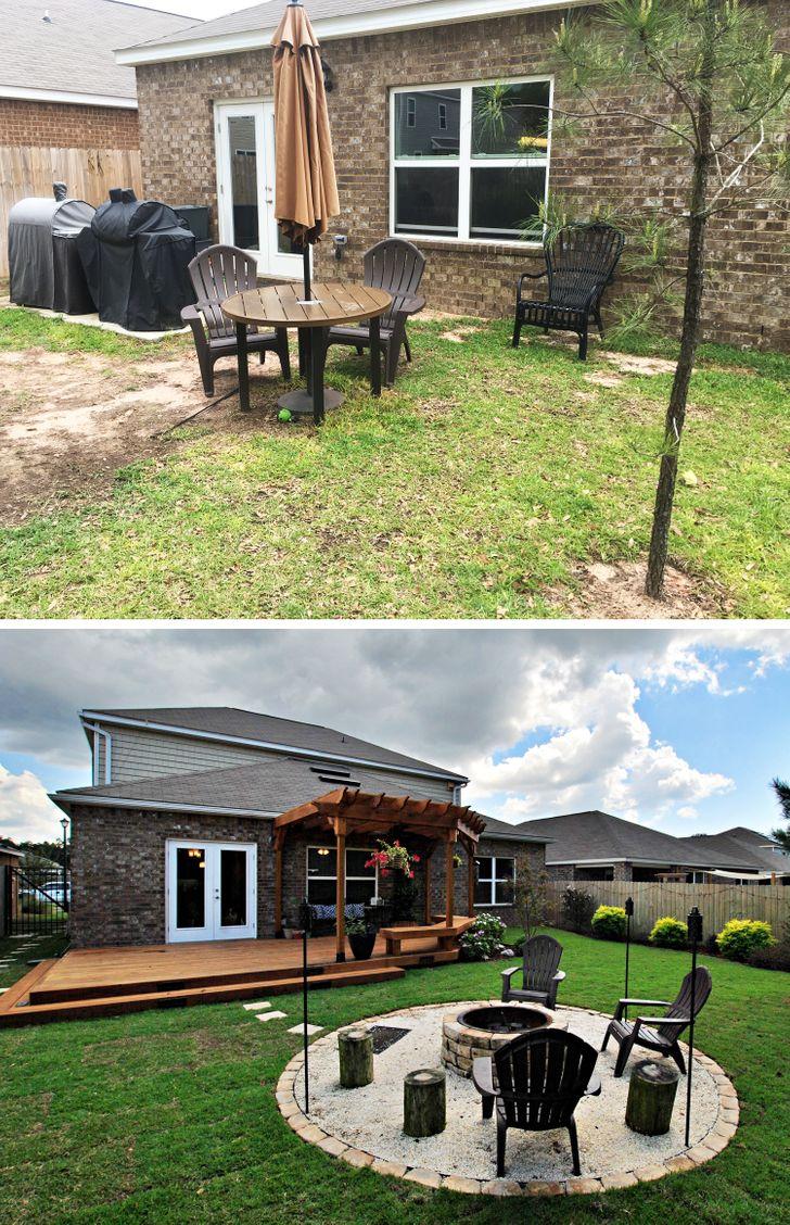 ремонт во дворе до и после