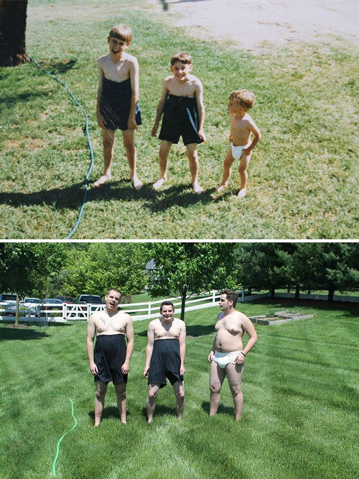 21 People Who Completely Nailed Their Childhood Photo Recreations