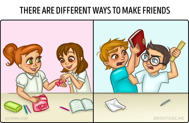 9 Truthful Cartoons About The Differences Between Female And Male Friendships