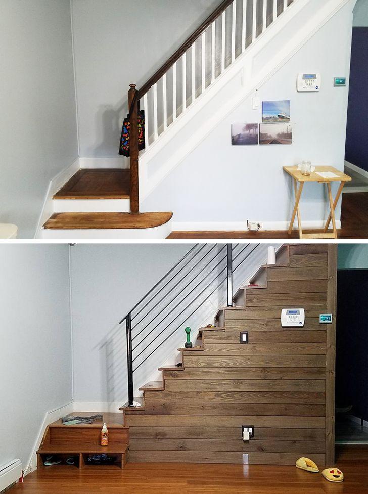 ремонт лестницы до и после