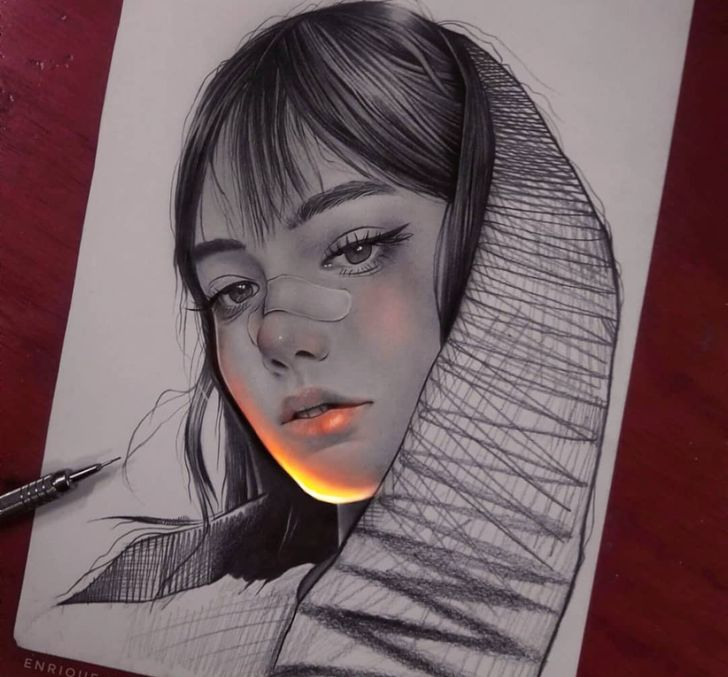 An Artist Creates Pencil Drawings And Makes Them Glow With Life