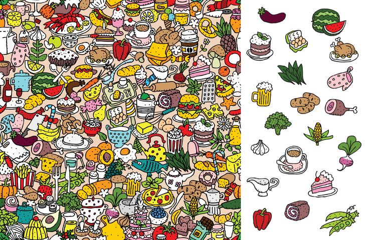 find the food items puzzle