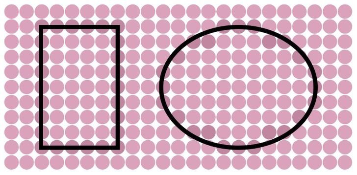A rectangle and an oval. Solution 12 or 15.