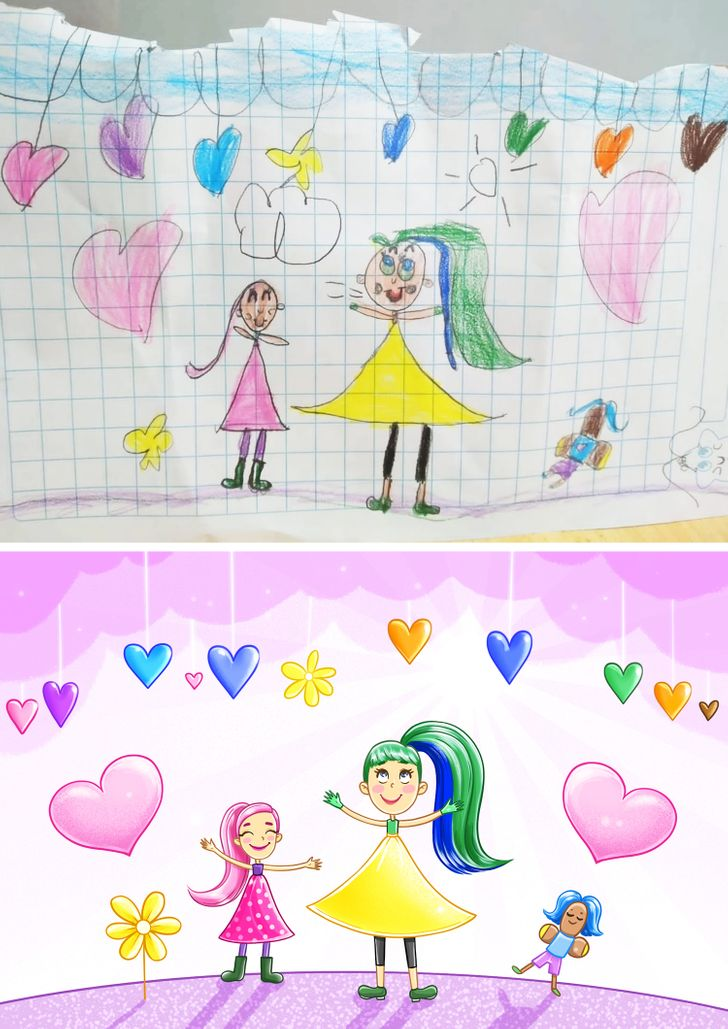 20+ Readers Shared Their Kids' Drawings, and Our Illustrators Added Just a Touch of Magic