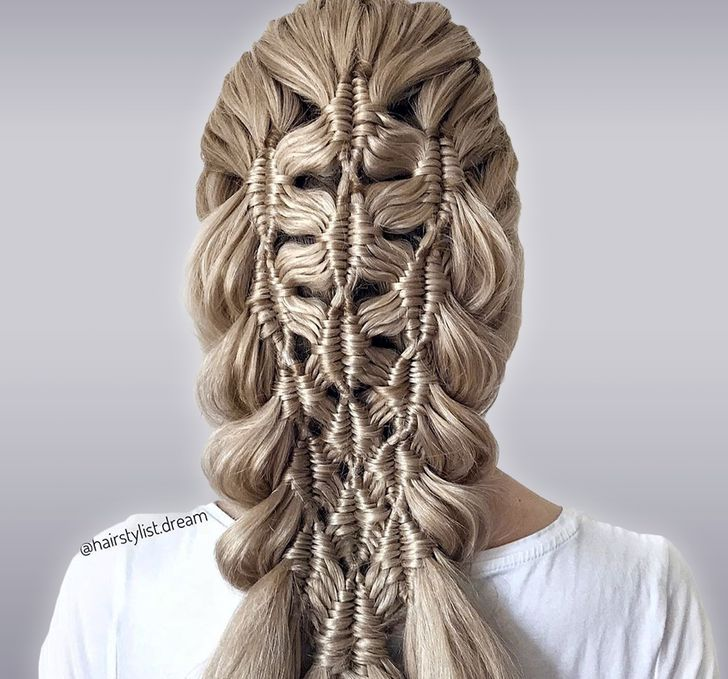 A German Teenager Creates Mesmerizing Hairstyles That Look Like Crocheted Patterns