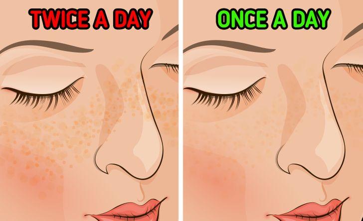 Çfarë mund të ndodhë me lëkurën nëse lani fytyrën tuaj vetëm një herë në ditë