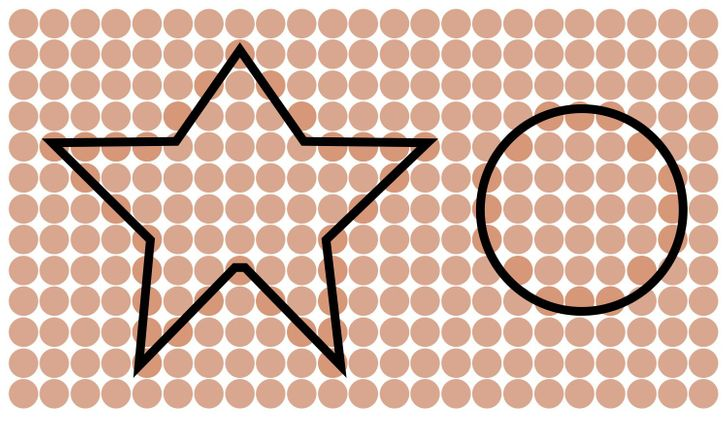 An irregular star and a circle. Solution 13 of 15.